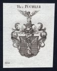 Hn. v. Püchler - Püchler Schlesien Wappen Adel coat of arms heraldry Heraldik Kupferstich engraving