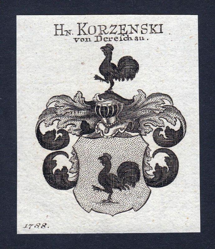 Hn. Korzenski von Dereschau - Korzenski Dereschau Derschau Wappen Adel coat of arms heraldry Heraldik Kupferst