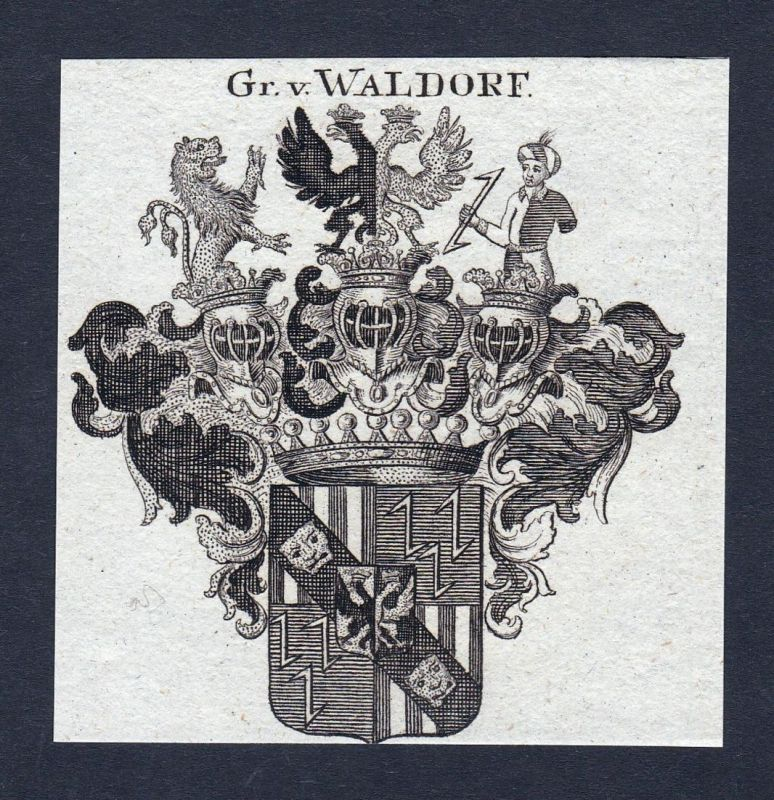 Gr. v. Waldorf - Waldorf Waldorff Walldorf Wappen Adel coat of arms heraldry Heraldik Kupferstich engraving