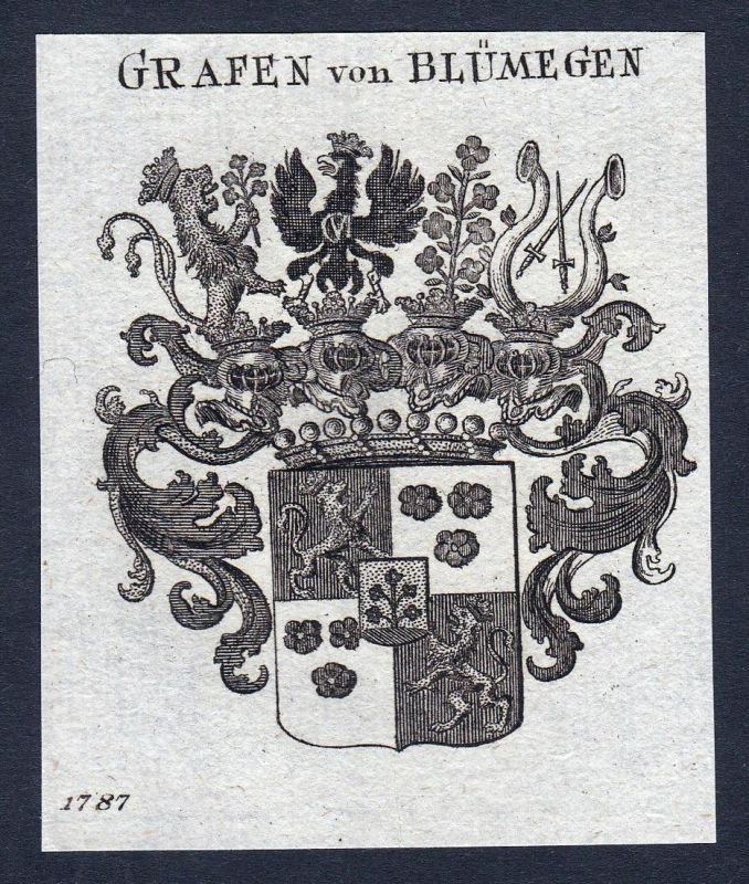 Grafen von Blümegen - Heinrich Kajetan Blümegen Wappen Adel coat of arms heraldry Heraldik Kupferstich engravi