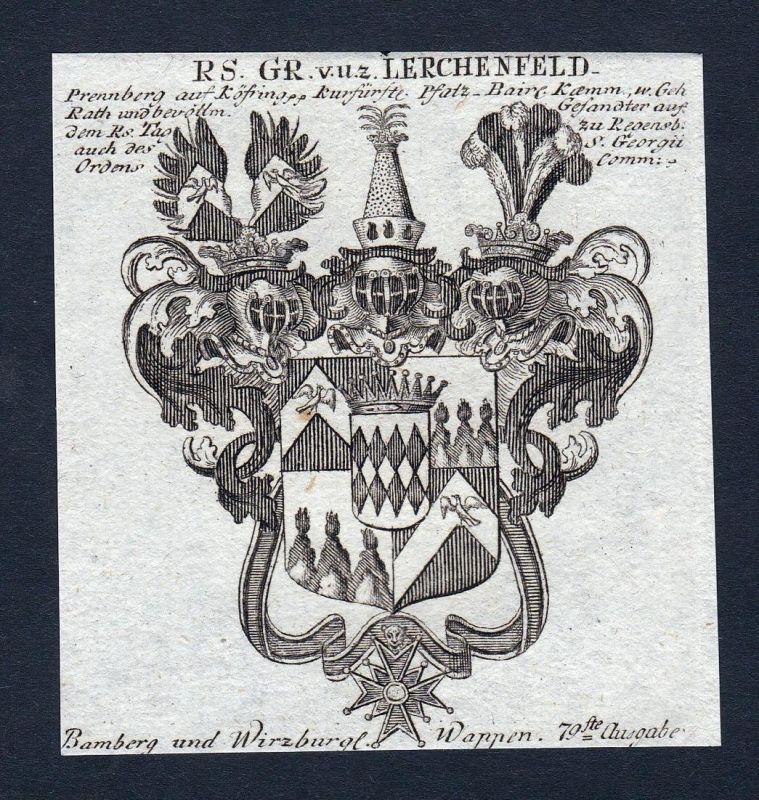 Gr. v. u. z. Lerchenfeld - Lerchenfeld Bayern Wappen Adel coat of arms heraldry Heraldik Kupferstich engraving