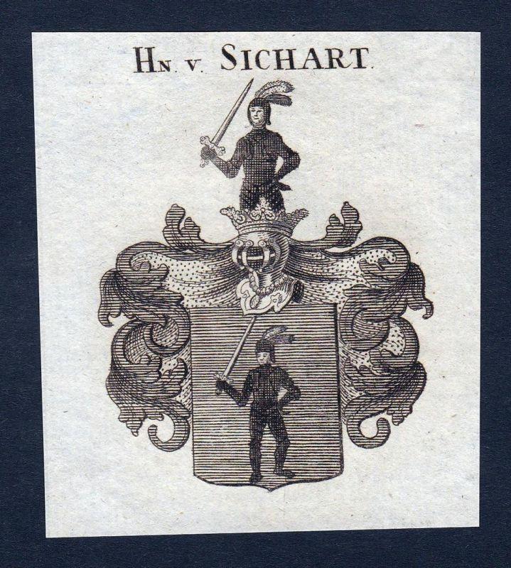 Hn. v. Sichart - Sichart Wappen Adel coat of arms heraldry Heraldik Kupferstich engraving