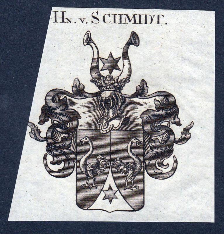 Hn. v. Schmidt - Schmidt Schmid Schmitt Wappen Adel coat of arms heraldry Heraldik Kupferstich engraving