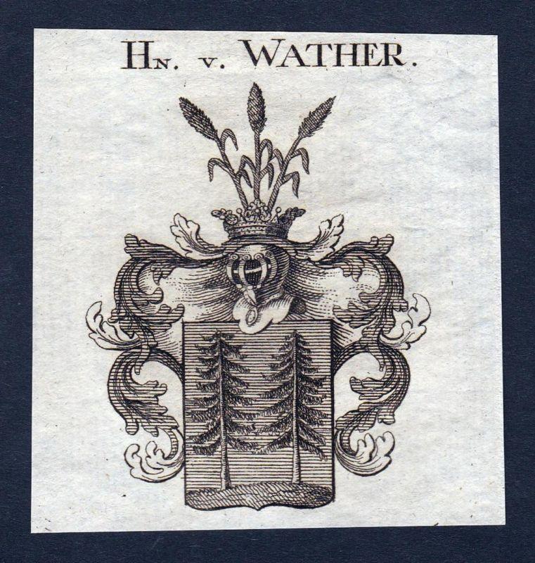 Hn. v. Walther - Walther Walter Wappen Adel coat of arms heraldry Heraldik Kupferstich engraving