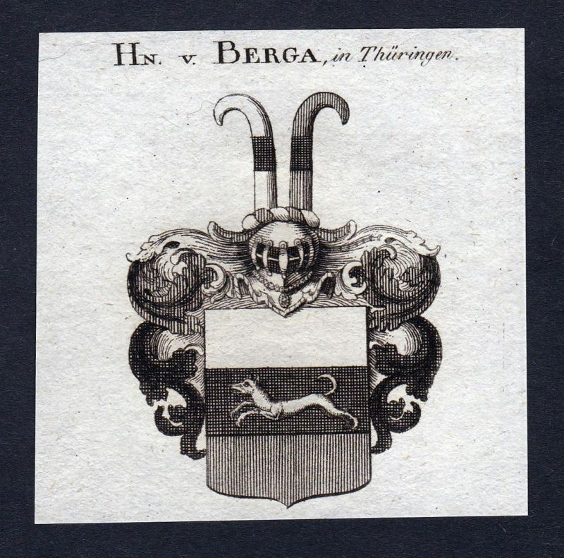 Hn. v. Berga, in Thüringen - Berga Thüringen Franken Wappen Adel coat of arms heraldry Heraldik Kupferstich en