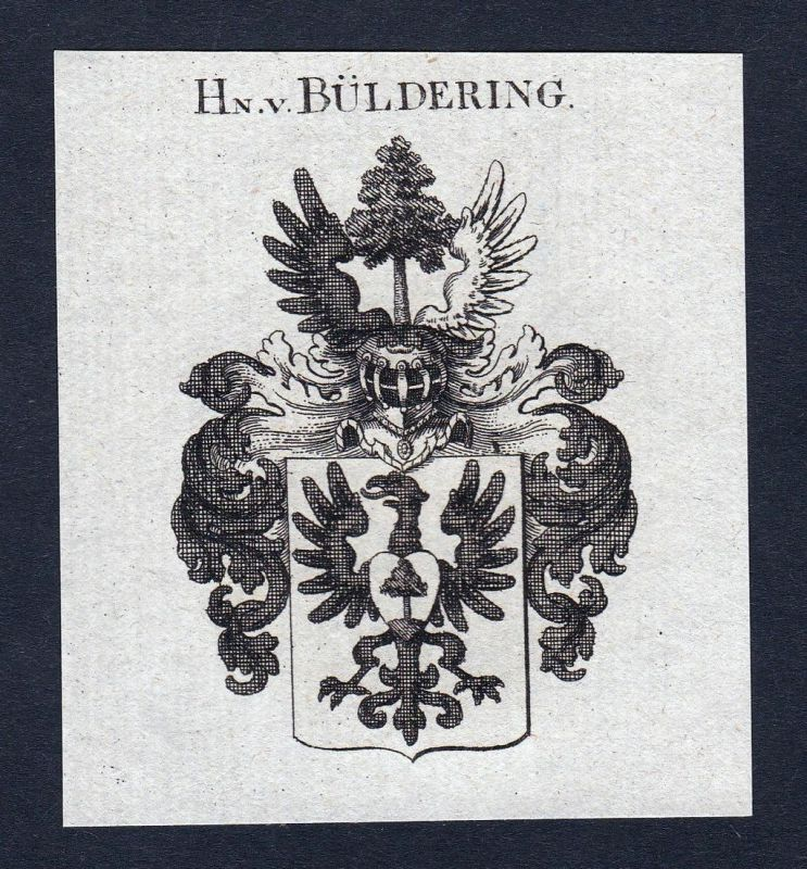 Hn. v. Büldering - Büldering Wappen Adel coat of arms heraldry Heraldik Kupferstich engraving