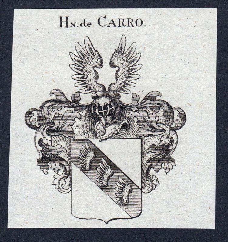 Hn. de Carro - Carro Wappen Adel coat of arms heraldry Heraldik Kupferstich engraving