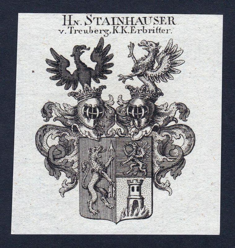 Hn. Stainhauser v. Treuberg, K. K. Erbritter - Steinberger Stainhauser Treuberg Wappen Adel coat of arms heral
