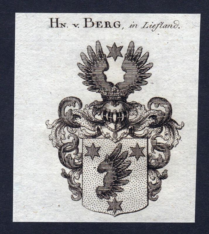 Hn. v. Berg, in Liefland - Berg Liefland Wappen Adel coat of arms heraldry Heraldik Kupferstich engraving