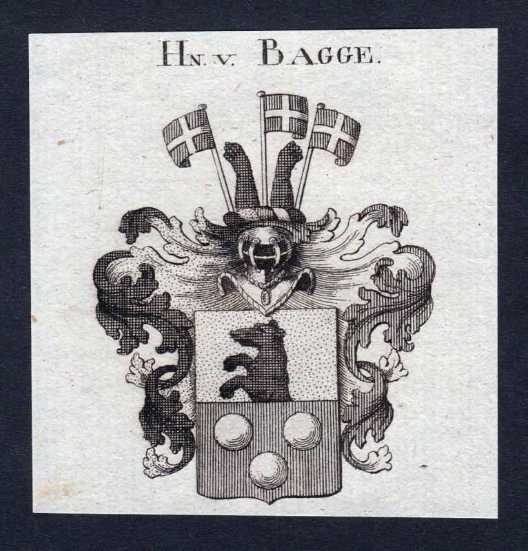 Hn. v. Bagge - Bagge Wappen Adel coat of arms heraldry Heraldik Kupferstich engraving