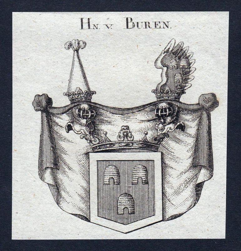 Hn. v. Buren - Buren Wappen Adel coat of arms heraldry Heraldik Kupferstich engraving