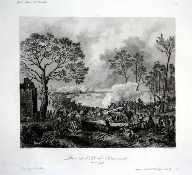 Prise de l'Isle de Bommel - Den Bommel battle siege Ansicht vue estampe Stahlstich antique print