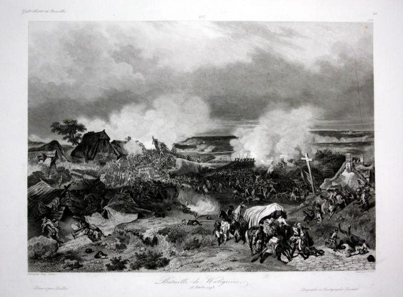 Bataille de Watignies - Wattignies bataille battle Ansicht vue estampe Stahlstich antique print