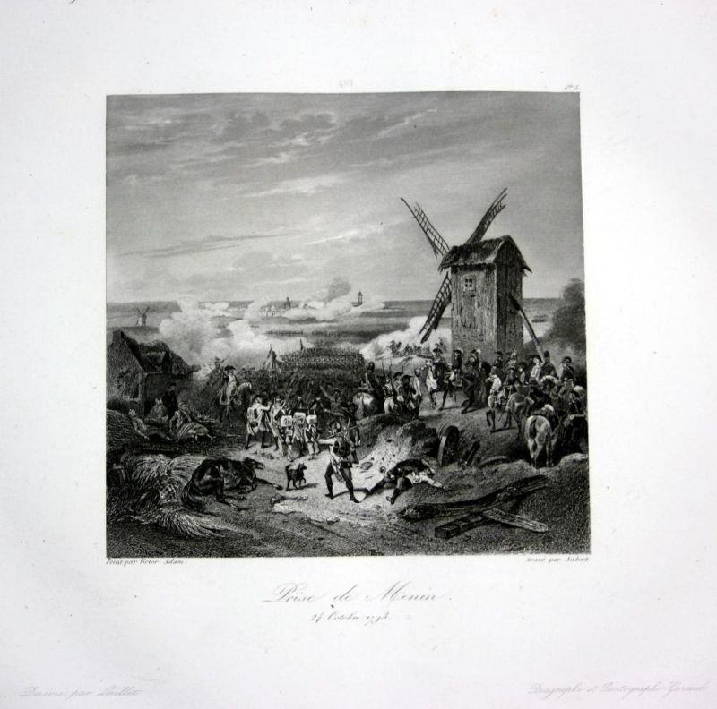 Prise de Menin - Menen Menin bataille Ansicht vue estampe Stahlstich antique print