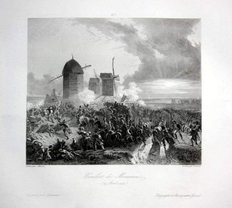 Combat de Mouoron - Mouscron Belgique Belgium Belgien bataille Ansicht vue estampe Stahlstich antique print