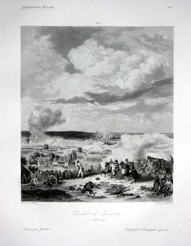 Combat de Turcoing - Tourcoing bataille battle Ansicht vue estampe Stahlstich antique print