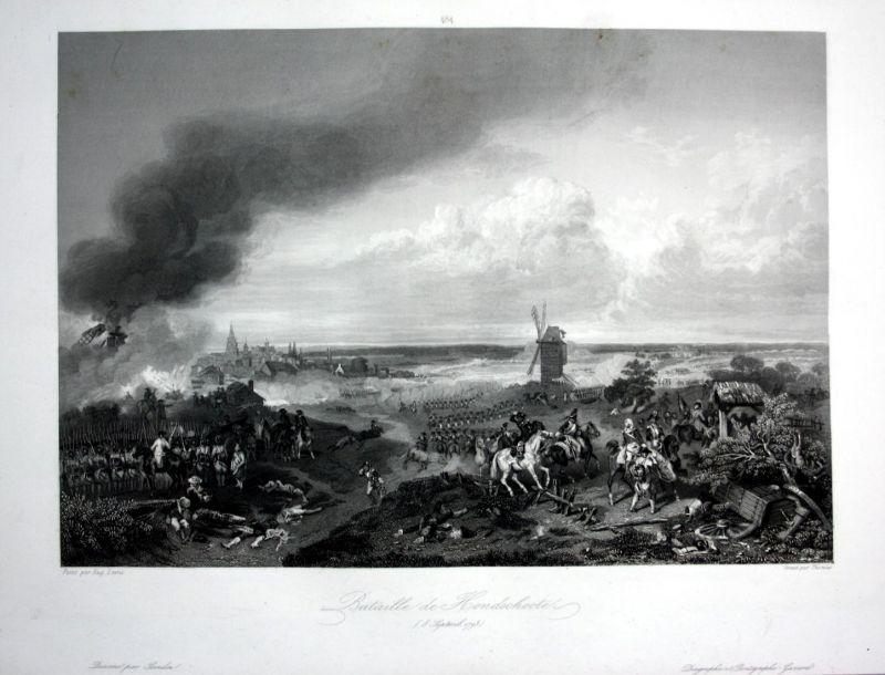 Bataille de Hondschoote - Hondschoote bataille battle Ansicht vue estampe Stahlstich antique print