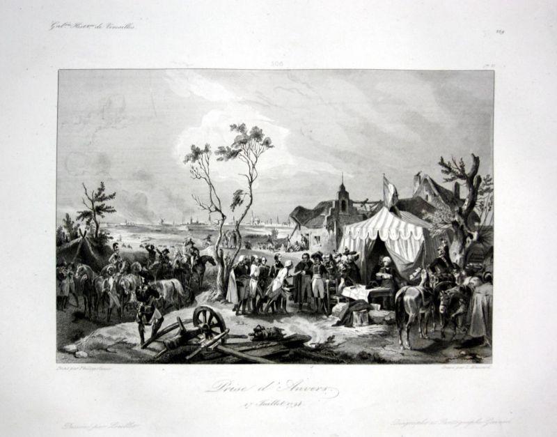 Prise d'Anvers - Antwerpen Anvers bataille Ansicht vue estampe Stahlstich antique print