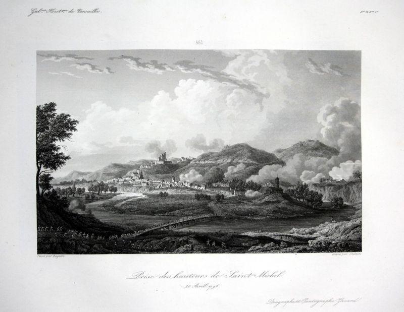 Prise des hauteurs de Saint-Michel - Le Mont-Saint-Michel Ansicht vue estampe Stahlstich antique print