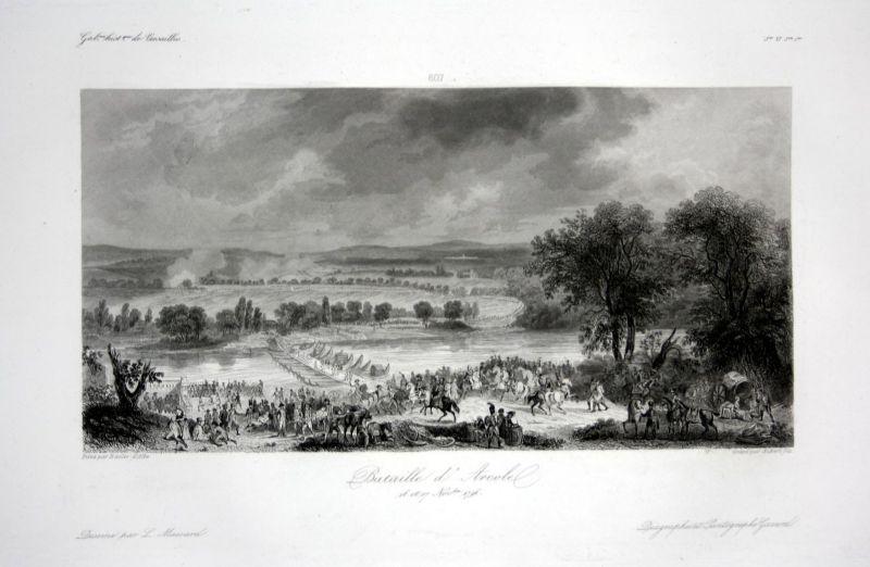 Bataille d'Arcole - Arcole Vemeto veduta Ansicht vue estampe Stahlstich antique print