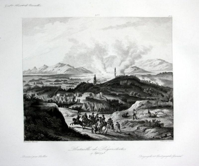 Bataille de Peyrestortes - Peyrestortes bataille battle Ansicht vue estampe Stahlstich antique print