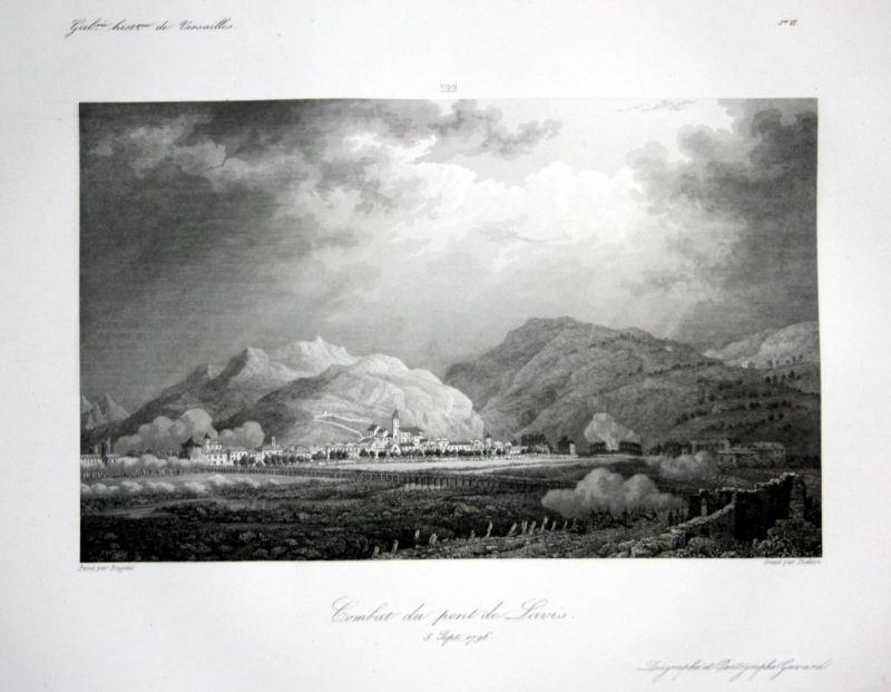 Combat du pont de Lavis - Lavis veduta generale incisione Ansicht vue estampe Stahlstich antique print