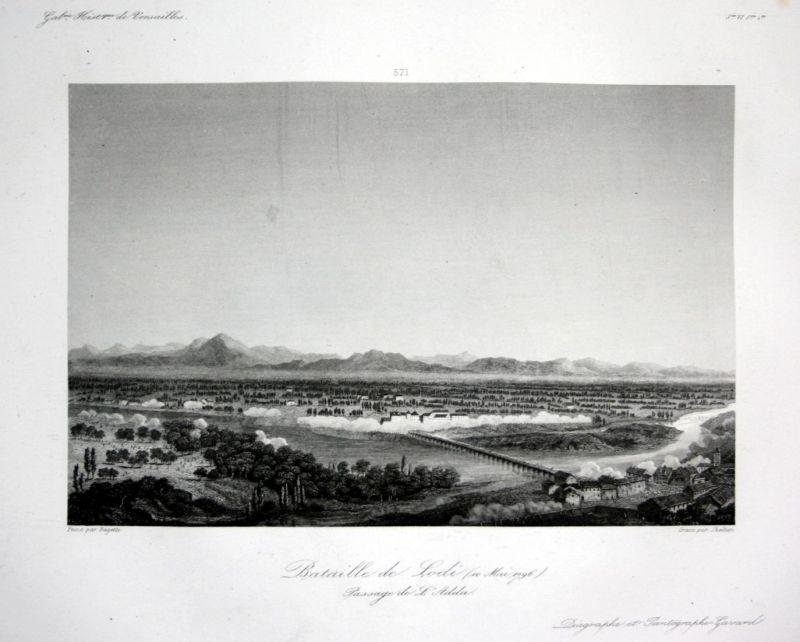 Bataille de Lodi - Lodi battaglia veduta incisione Ansicht vue estampe Stahlstich antique print