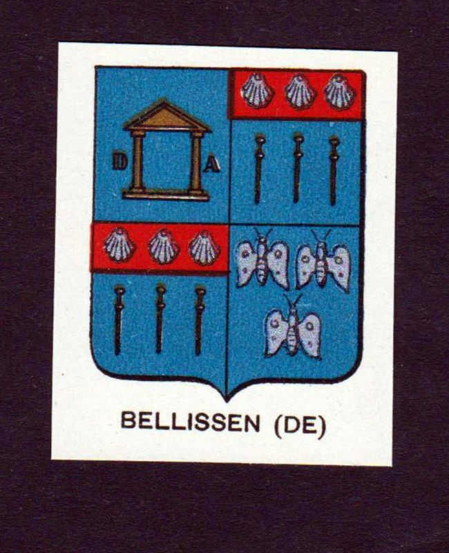Bellissen (DE) - Bellissen Wappen Adel coat of arms heraldry Lithographie antique print blason