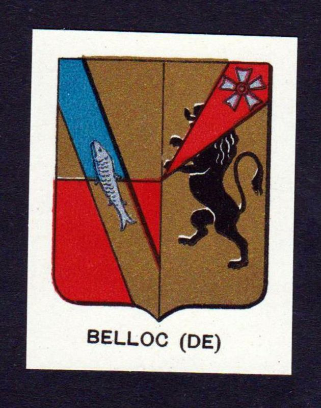 Belloc (DE) - Belloc Wappen Adel coat of arms heraldry Lithographie antique print blason