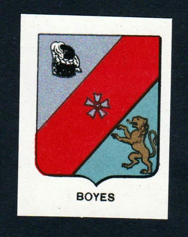 Boyes - Boyes Wappen Adel coat of arms heraldry Lithographie antique print blason