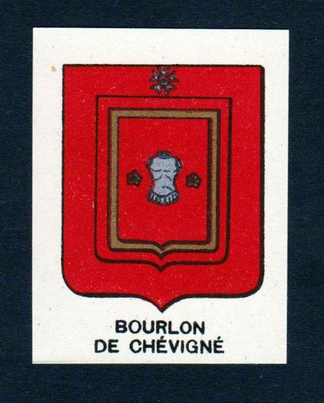 Bourlon de Chevigne - Bourlon de Chevigne Wappen Adel coat of arms heraldry Lithographie antique print blason