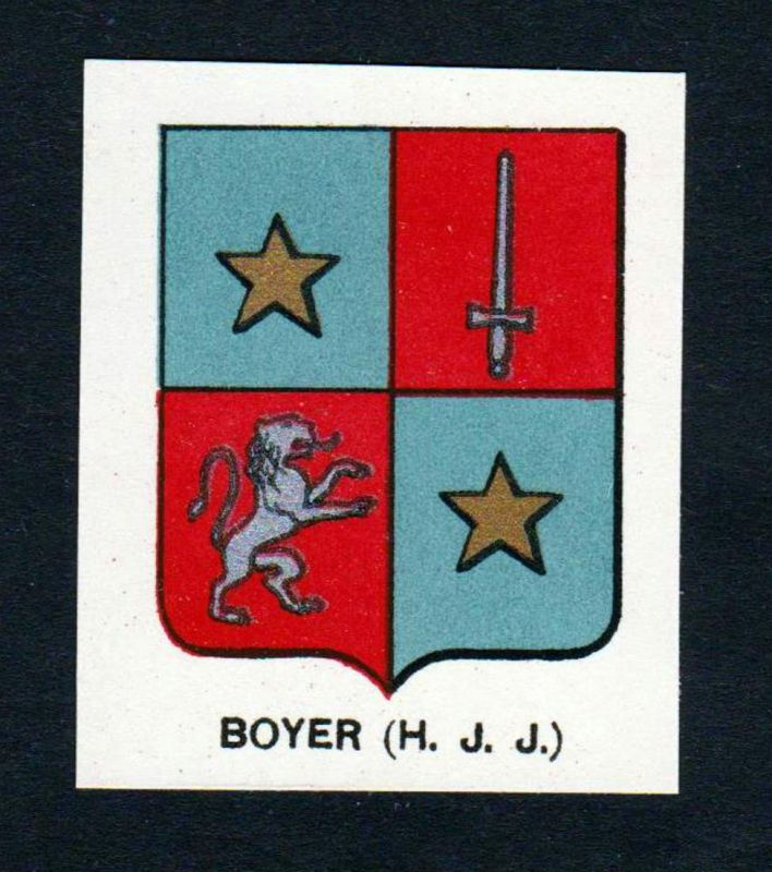 Boyer (H. J. J.) - Boyer Wappen Adel coat of arms heraldry Lithographie antique print blason