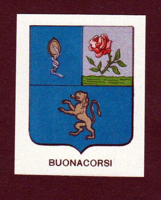 Buonacorsi - Buonacorsi Wappen Adel coat of arms heraldry Lithographie antique print blason