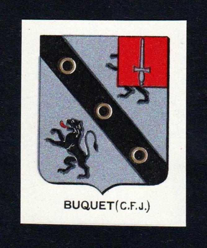 Buquet (C. F. J.) - Buquet Wappen Adel coat of arms heraldry Lithographie antique print blason