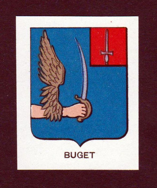 Buget - Buget Wappen Adel coat of arms heraldry Lithographie antique print blason