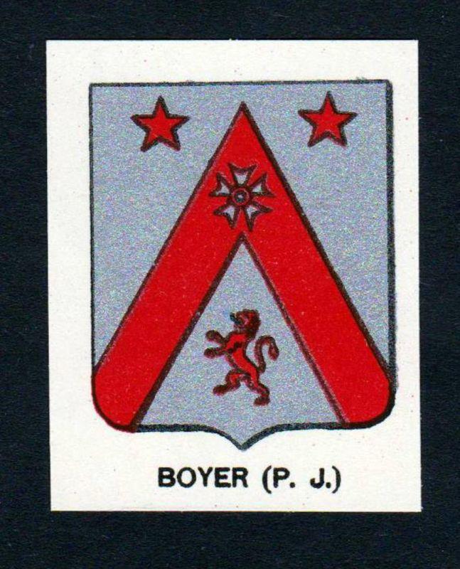 Boyer (P. J.) - Boyer Wappen Adel coat of arms heraldry Lithographie antique print blason
