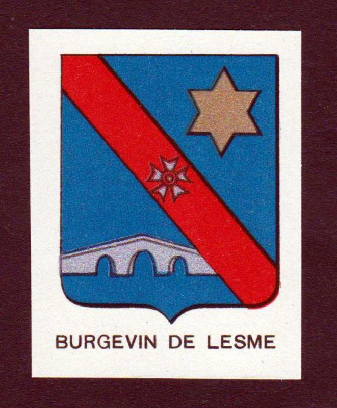 Burgevin de Lesme - Burgevin de Lesme Wappen Adel coat of arms heraldry Lithographie antique print blason