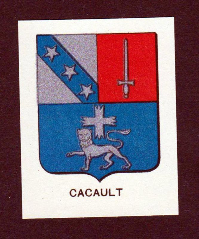 Cacault - Cacault Wappen Adel coat of arms heraldry Lithographie antique print blason