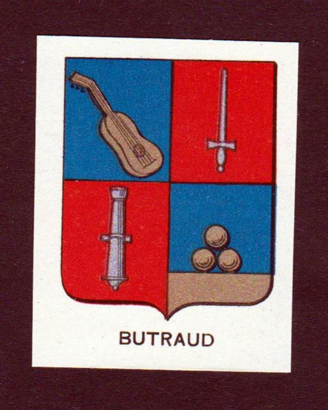 Butraud - Butraud Wappen Adel coat of arms heraldry Lithographie antique print blason