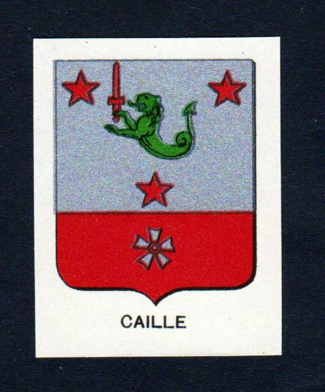 Caille - Caille Wappen Adel coat of arms heraldry Lithographie antique print blason