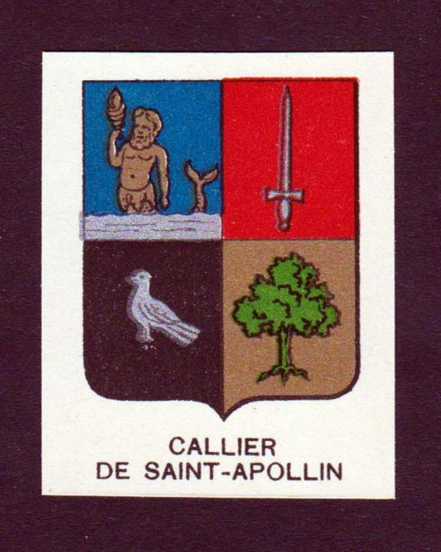 Callier de Saint-Apollin - Callier de Saint Apollin Wappen Adel coat of arms heraldry Lithographie antique pri
