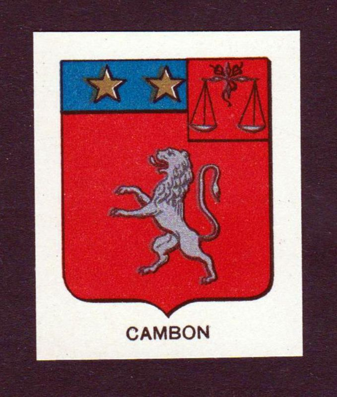 Cambon - Cambon Wappen Adel coat of arms heraldry Lithographie antique print blason