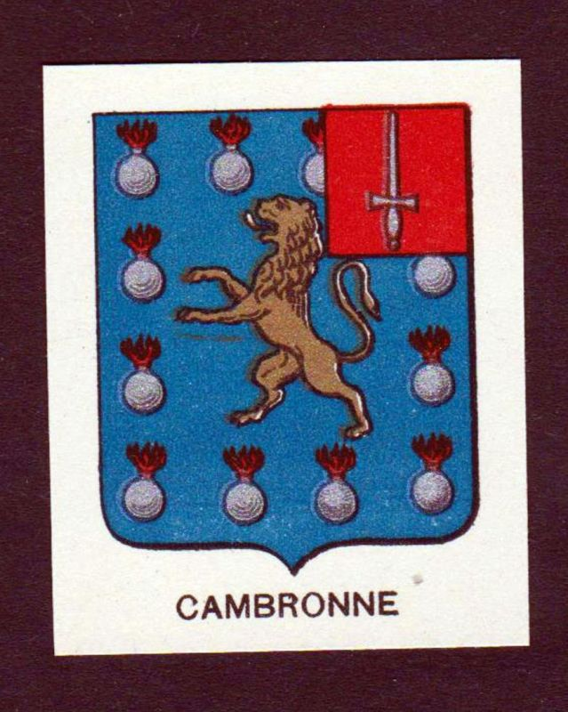 Cambronne - Cambronne Wappen Adel coat of arms heraldry Lithographie antique print blason