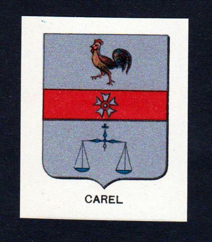 Carel - Carel Wappen Adel coat of arms heraldry Lithographie antique print blason