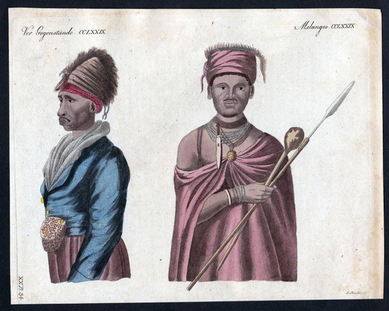 Ver. Gegenstände CCLXXIX - Eingeborene aboriginal Afrika Südafrika South Africa Kupferstich Bertuch antique pr