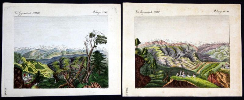 Verm. Gegenstände CCLXIV u. CCLXV - Himalaya Gebirge mountains Berge Ansichten Kupferstich Bertuch antique pri