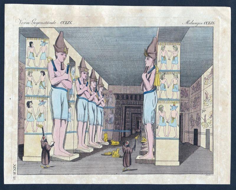 Verm. Gegenstände CCLIX - Tempel temple Ägypten Nubien Ybsambul Kupferstich Bertuch antique print
