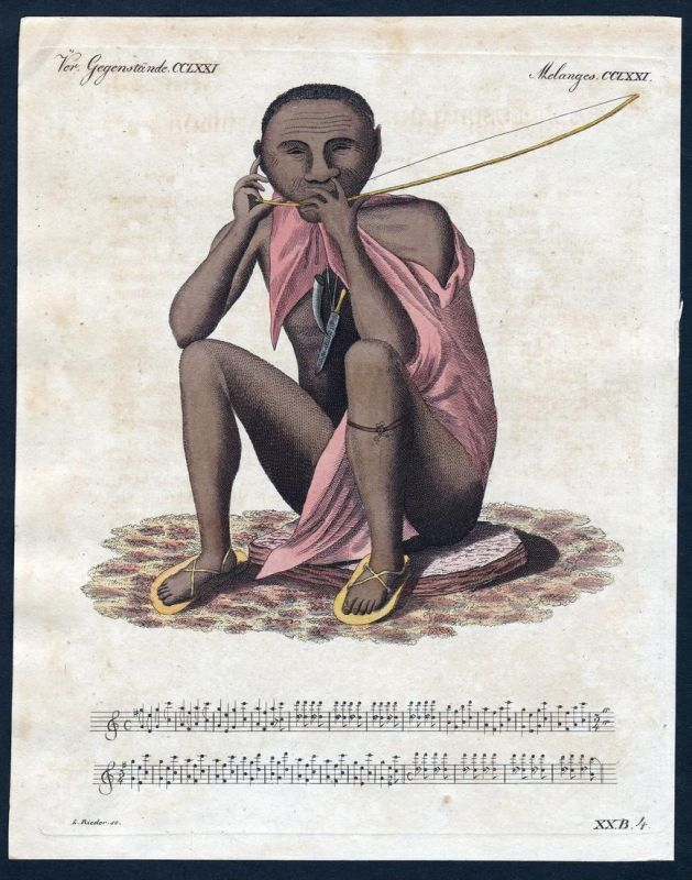 Verm. Gegenstände CCLXXI - Buschmann Negrito Südafrika Afrika South Africa Kupferstich Bertuch antique print