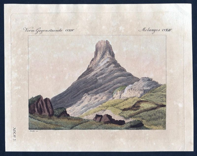 Verm. Gegenstände CCLIV - Skuir Insel island Egg Schottland Scotland Kupferstich Bertuch antique print