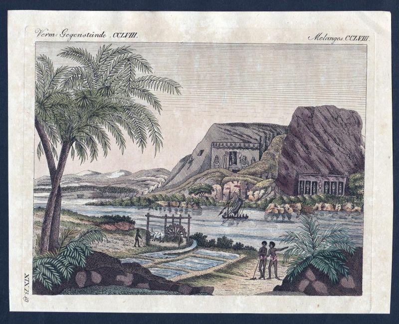 Verm. Gegenstände CCLVIII - Tempel temple Ybsambul Nil Nubien Kupferstich Bertuch antique print